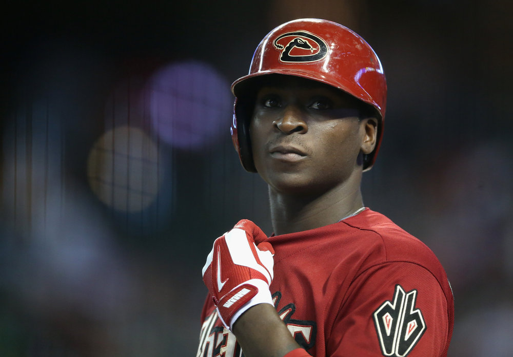 . Didi Gregorius #1 of the Arizona Diamondbacks stands on deck during the MLB game against the Colorado Rockies at Chase Field on August 10, 2014 in Phoenix, Arizona.  (Photo by Christian Petersen/Getty Images)