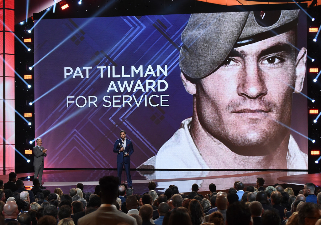 . Former Marine Sgt. Jake Wood accepts the Pat Tillman award for service at the ESPY Awards at Microsoft Theater on Wednesday, July 18, 2018, in Los Angeles. (Photo by Phil McCarten/Invision/AP)