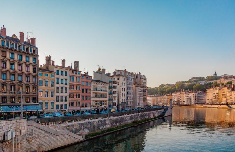View towards the Quai de Bondy from the Pont de la Feuillée, Lyon, Auvergne-Rhône-Alpes, France