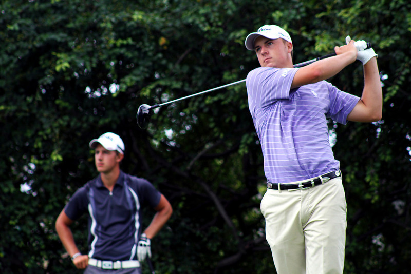Jordan Spieth, 18, of Dallas, Texas tees off in his third round Thursday. Spieth was in second place after Wednesday's second round.