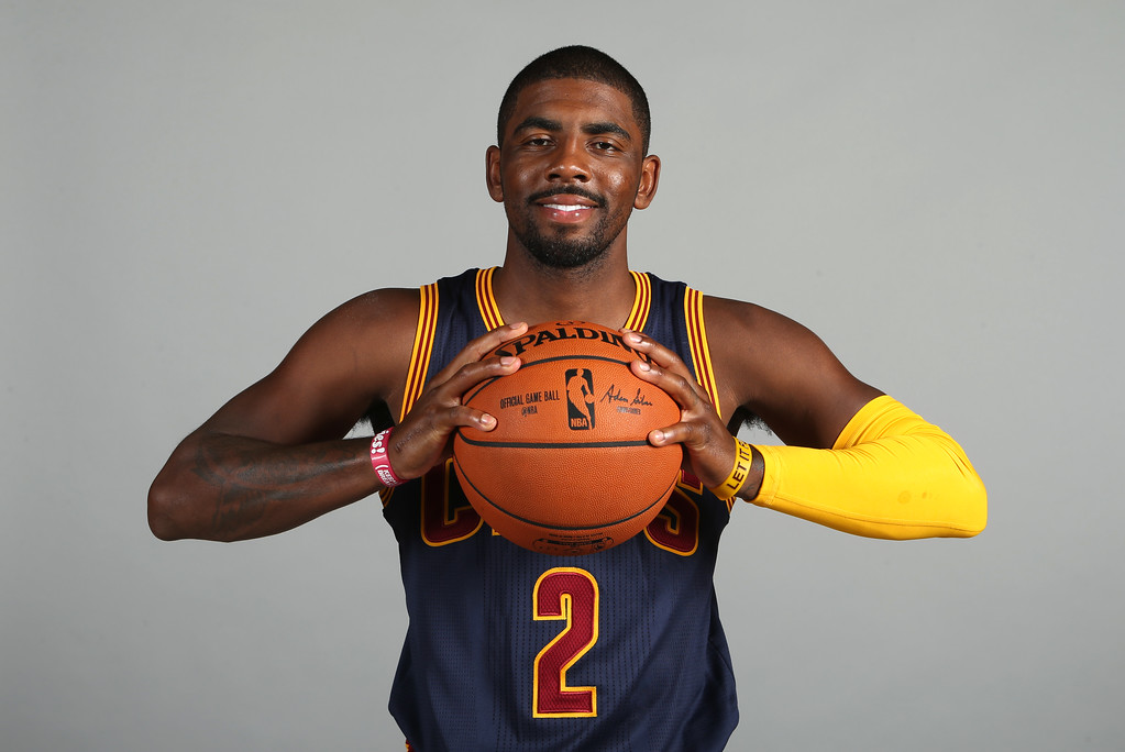 . Cleveland Cavaliers\' Kyrie Irving poses during the NBA team\'s media day, Monday, Sept. 28, 2015, in Independence, Ohio. (AP Photo/Ron Schwane)