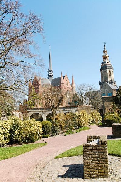The Church of Saint Walburga (Sint Walburgakerk) in Veurne, Belgium. Captured from the municipal park (stadspark).