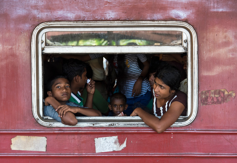 Travelers on Crowded Train, Sri Lanka