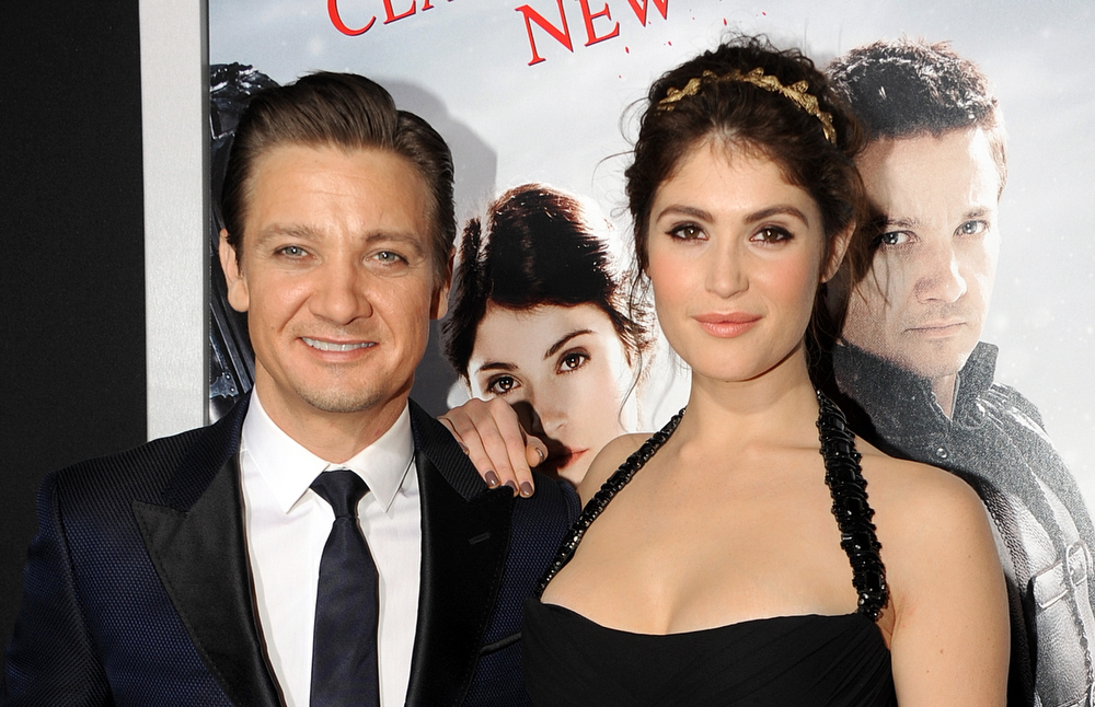 Description of . Actors Jeremy Renner and Gemma Arterton arrive for the Los Angeles premiere of Paramount  Pictures'