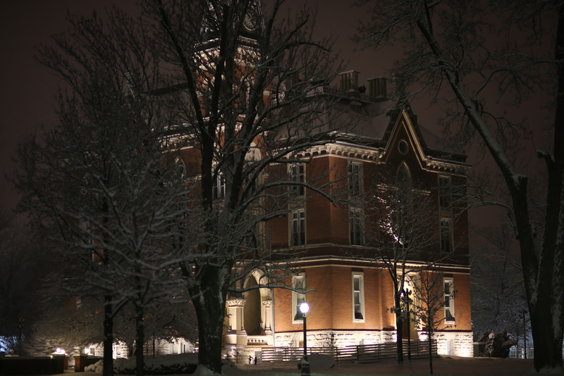 DePauw Campus covered in snow