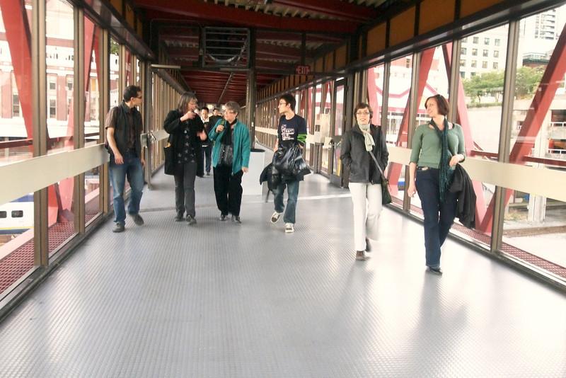 Viewing Seabus transit ferry terminal with Jordan, Stina, Evelyn, Regan, Vanessa, Jacquie.