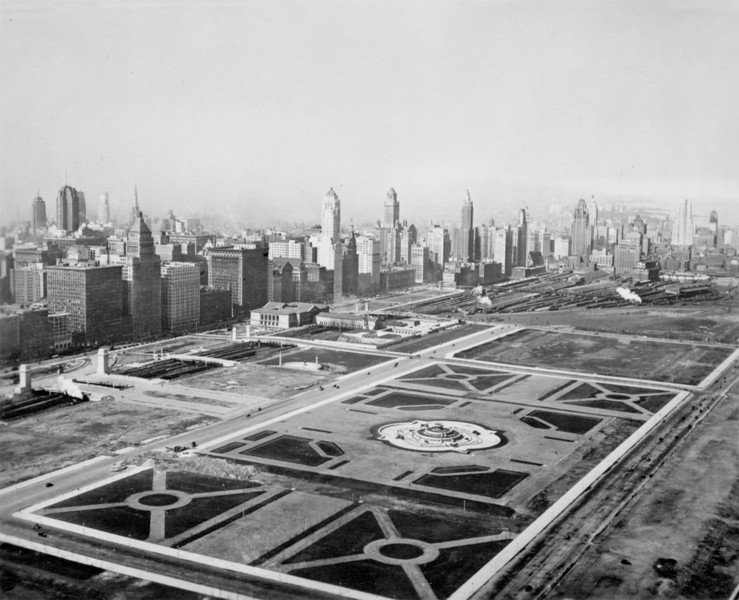 This view of Grant Park in 1929 looks northwest toward Michigan Avenue. While the park lacked much of today's landscaping and structures, the basic layout was in place, Buckingham Fountain (1927) had been built, and the Art Institute had expanded over the Illinois Central tracks, which still dominated the landscape at the north end of the park.    http://encyclopedia.chicagohistory.org/pages/10897.html