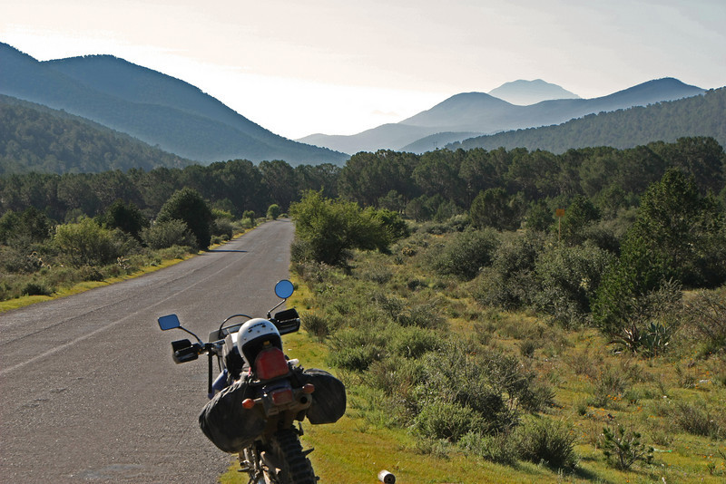 Looking south toward our destination.  We spent most of the day riding in those mountains.