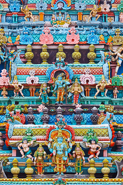 Bas reliefes on gopura (tower) of Hindu temple. Sri Ranganathaswamy Temple. Tiruchirappalli (Trichy), Tamil Nadu, India