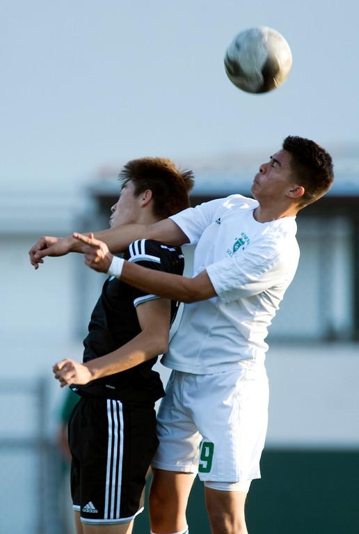 . In the first half of Boys soccer, South Pasadena at Monrovia on Wednesday, Jan. 8, 2013. Monrovia won 5-1. (Photo by Watchara Phomicinda/ Pasadena Star-News)