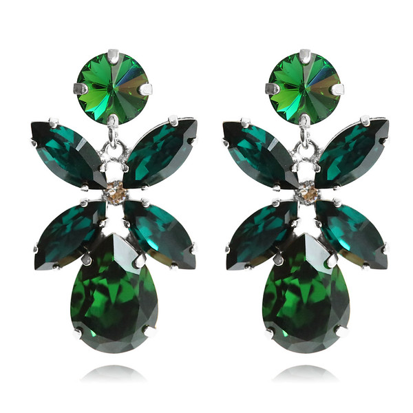 Dione Earrings / Dark Moss Green / Rhodium