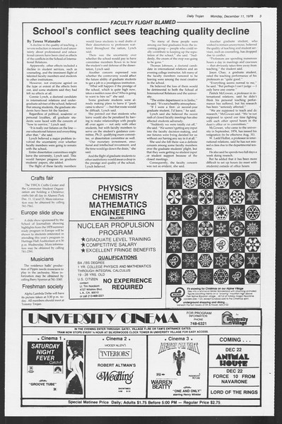Daily Trojan, Vol. 75, No. 52, December 11, 1978