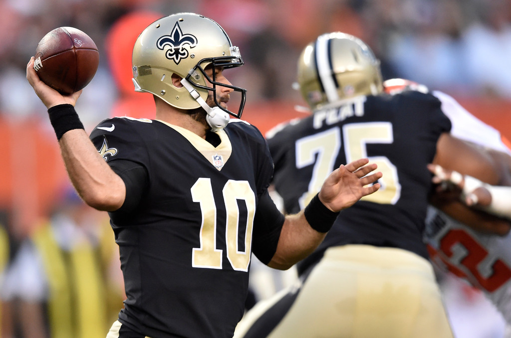 . New Orleans Saints quarterback Chase Daniel (10) passes against the Cleveland Browns during the first half of an NFL preseason football game, Thursday, Aug. 10, 2017, in Cleveland. (AP Photo/David Richard)