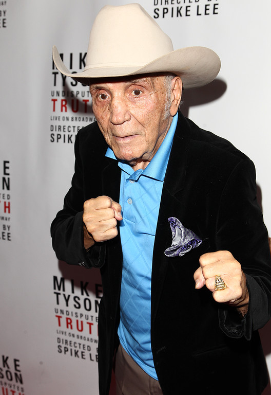 """. Boxer Jake LaMotta is seen at the \""""Mike Tyson: Undisputed Truth\"""" event on Thursday, Aug 2, 2012 in New York. (Photo by Donald Traill/Invision/AP)"""