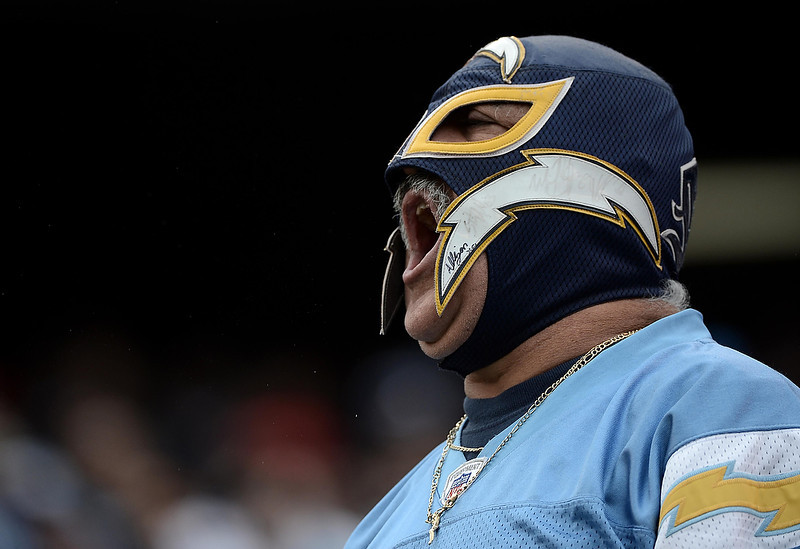 . A Charger fan cheers for his team during the game against the Carolina Panthers and the San Diego Chargers on December 16, 2012 at Qualcomm Stadium in San Diego, California. (Photo by Donald Miralle/Getty Images)