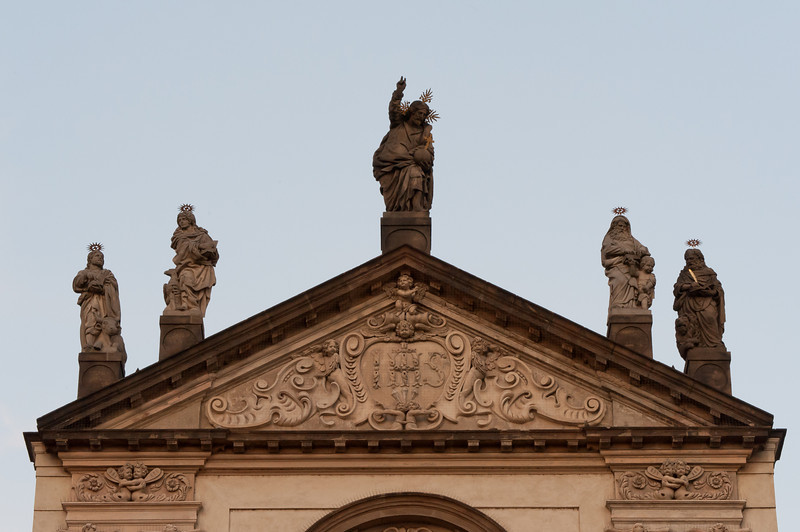 Statues on rooftop of The Church of Our Lady before Tyn - Prague, Czech Republic