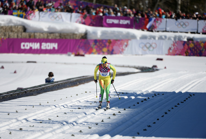 . Mathilde Amivi Petitjean of Togo competes in the Women\'s 10 km Classic during day six of the Sochi 2014 Winter Olympics at Laura Cross-country Ski & Biathlon Center on February 13, 2014 in Sochi, Russia.  (Photo by Harry How/Getty Images)