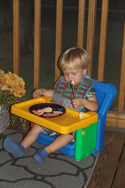 dinner on Nana's back porch