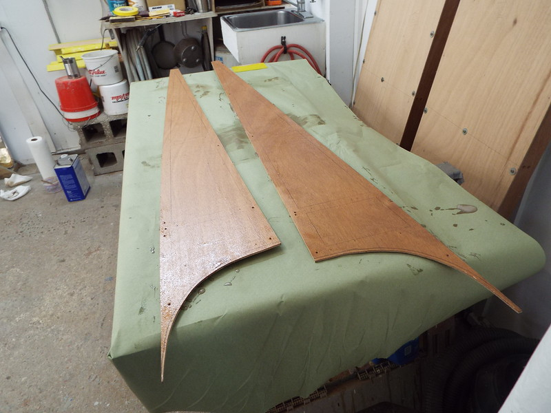 More plywood skin with epoxy applied.