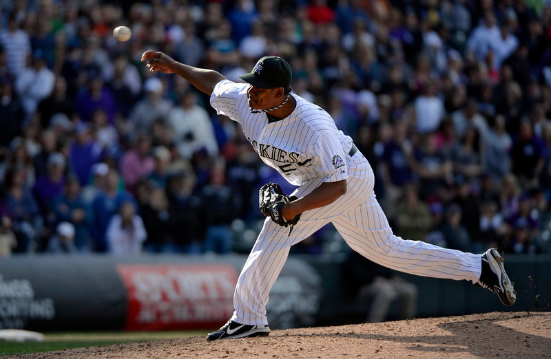 . Colorado Rockies Wilton Lopez (59) delivers a pitch in the 9th inning to close out the San Diego Padres April 7, 2013 at Coors Field. (Photo By John Leyba/The Denver Post)