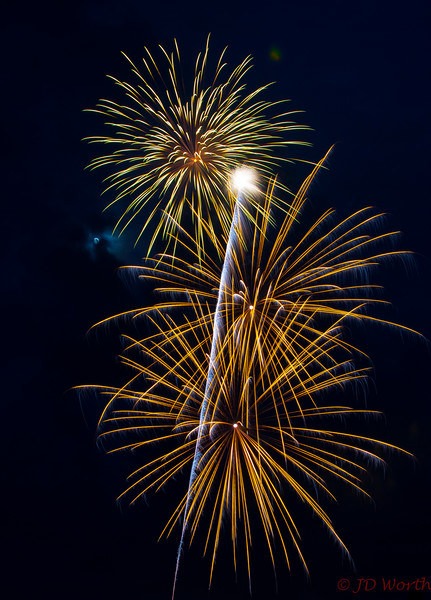 070417 Luray VA Downtown Fireworks - Gold to Yellow Sea Urchins with Moon and Rising White Streamer-0867.jpg
