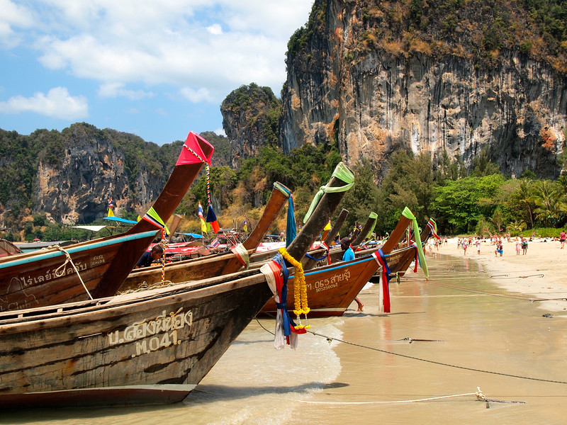 Longtail boats at Railay West Beach, Thailand