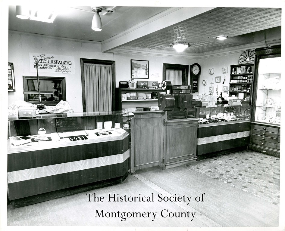. This photo from the Historical Society of Montgomery County shows the interior of Snyder\'s jewelry store in Norristown around the holidays in the 1950s.