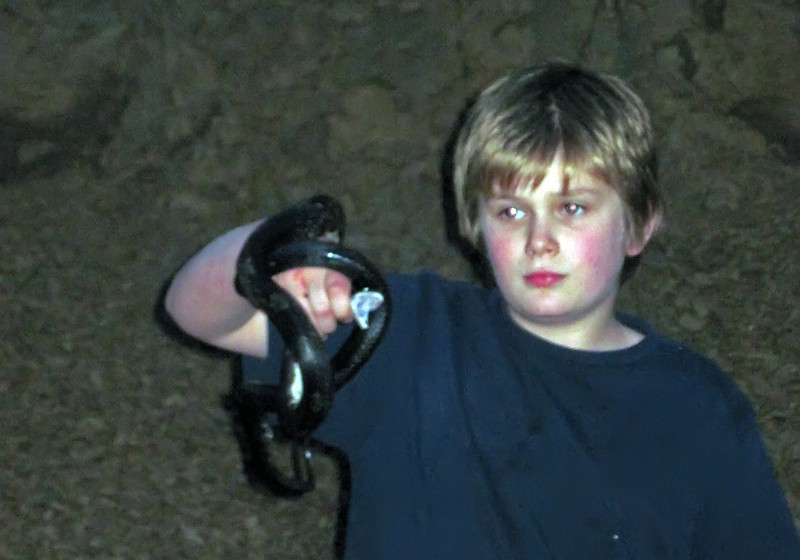 That is a six foot black snake! Notice the wide open jaws (and the blood on the hands).