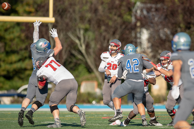 Taken during or before at an NCAA Division 3 Football game between the Mariners of teh Merchant Marine Academy and the Engineers of Worcester Polytechnic Institute (WPI) at Brooks Field on the USMMA campus in Kings Point NY on Worcester MA played on 10-20-2018. The final score was 25-24 to Sprinfield.