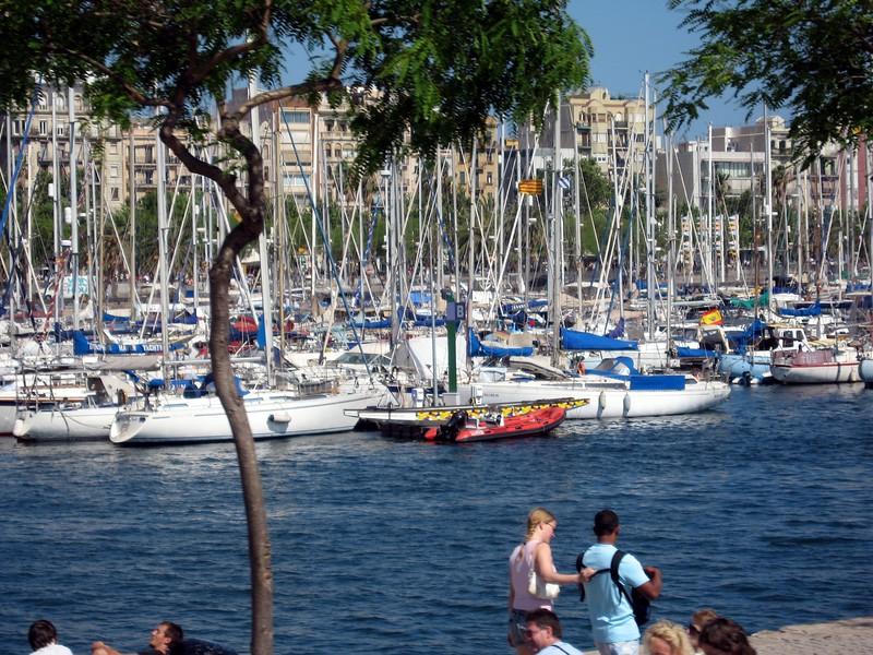 Sailboats moored off the Mediterranean Sea