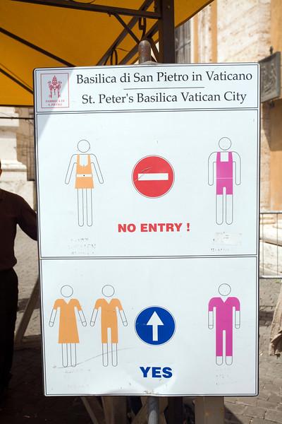 Dress code sign, Saint Peter's Basilica, Vatican