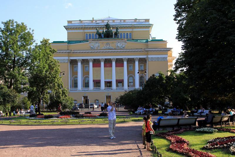 Aleksandrinsky Theatre (where I saw Swan Lake Ballet) and Pl Ostrovskogo (park).