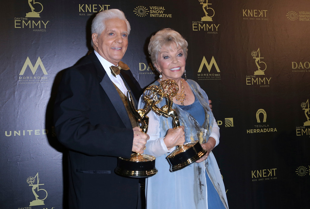 . Bill Hayes, left, and Susan Seaforth Hayes pose in the press room with the lifetime achievement award at the 45th annual Daytime Emmy Awards at the Pasadena Civic Center on Sunday, April 29, 2018, in Pasadena, Calif. (Photo by Willy Sanjuan/Invision/AP)