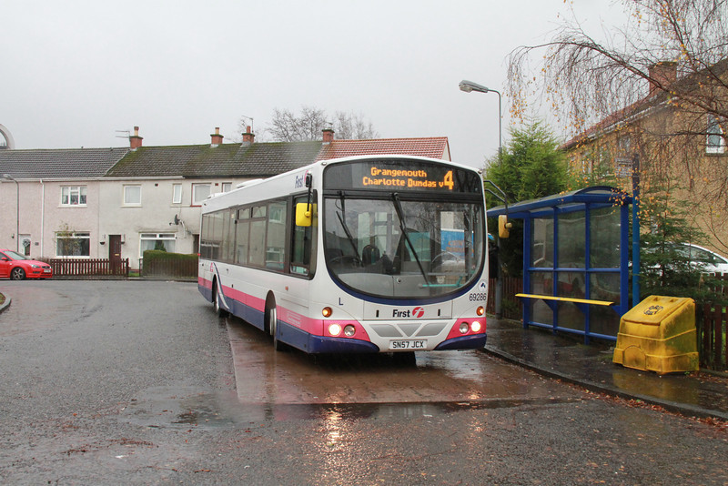 Ochiltree Terrace, Camelon.  Just arrived as a 4a from Tesco Camelon, now a 4 to Grangemouth and back to ASDA Newmarket Street.   Sorry about the rain spots but I was approaching departure time and hadn't put the lens hood on!