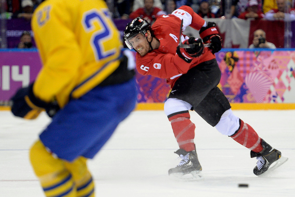 . Shea Weber (6) of Canada takes a shot against Sweden during the first period of the men\'s ice hockey gold medal game. Sochi 2014 Winter Olympics on Sunday, February 23, 2014 at Bolshoy Ice Arena. (Photo by AAron Ontiveroz/ The Denver Post)