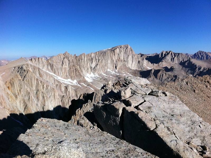 Taken with my iPhone.  Mt. Mallory summit view.  The Sierra crest.