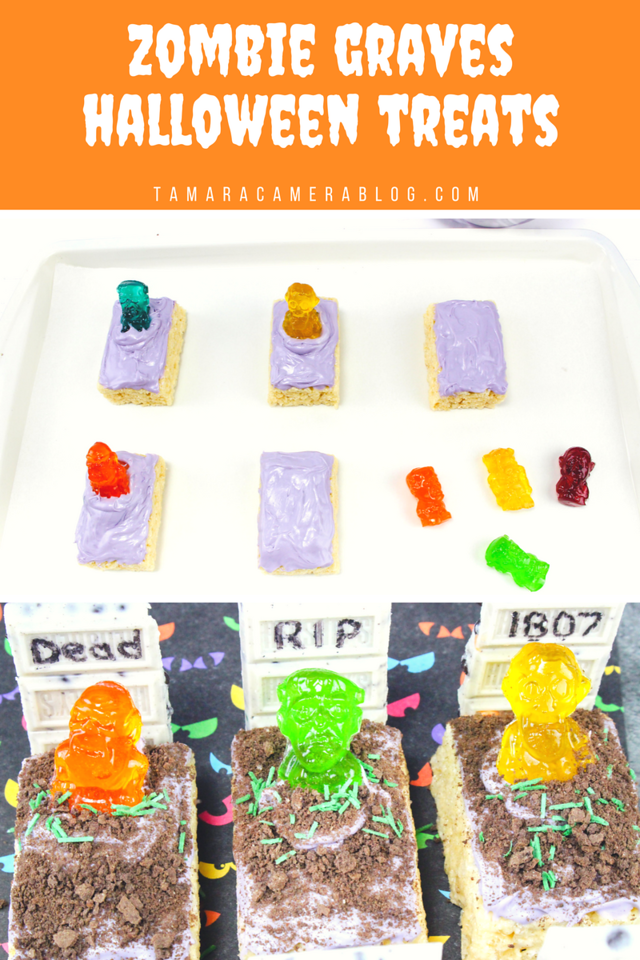How fun are these Zombies in the graveyard? Easy to make with pre-made Rice Krispie treats! Great for any party or reason for Halloween Cakes! #recipe #fun