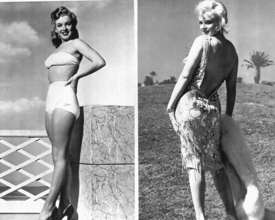 ". Marilyn Monroe poses in a bathing suit, left, in 1947 at age 18 at the start of her carreer and in a gown designed for her, right, in 1958 in the movie ""Some Like It Hot.\"" (AP Photo/files)"