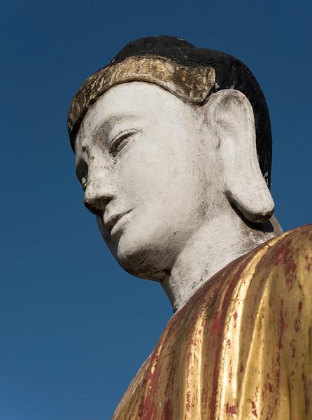 Close-up of Buddha image at the foot of Mt Zwegabin, Hpa-an, Karen (Kayin) State, Burma