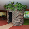 hollow cave sculpture with plantings