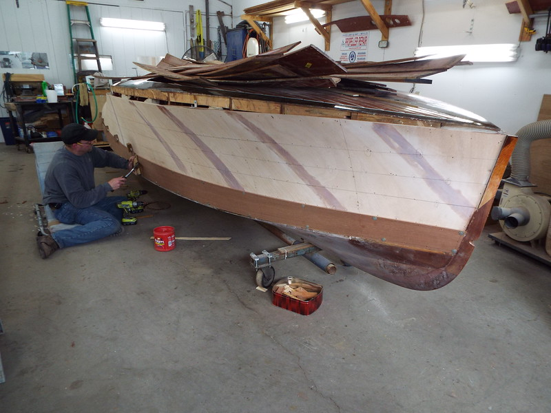 Front view of the first starboard plank being fit.