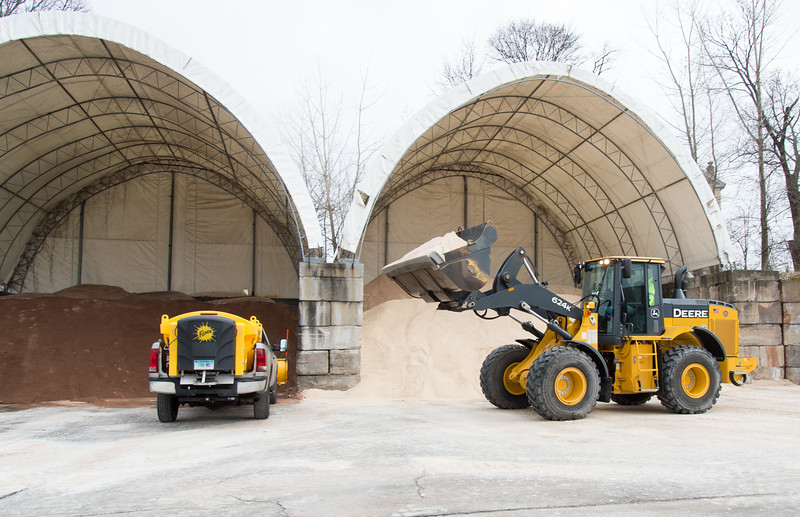 01/17/19  Wesley Bunnell | Staff  A loader prepares to load salt onto a waiting truck at the New Britain Public Works on Friday afternoon.