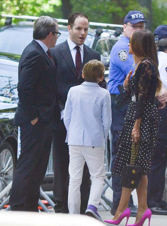. Sarah Jessica Parker (R), Matthew Broderick (L) and their son James Broderick attend the Joan Rivers memorial service at Temple Emanu-El on September 7, 2014 in New York City. (Photo by Kris Connor/Getty Images)