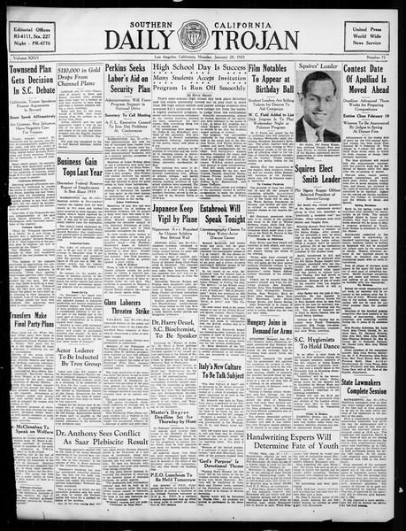 Daily Trojan, Vol. 26, No. 75, January 28, 1935