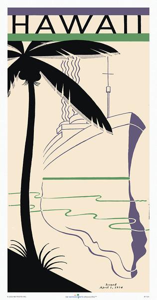 172: Retro Hawaiian Art Deco Ocean Liner Company Brochure Cover, 'Hawaii' Ca 1935.