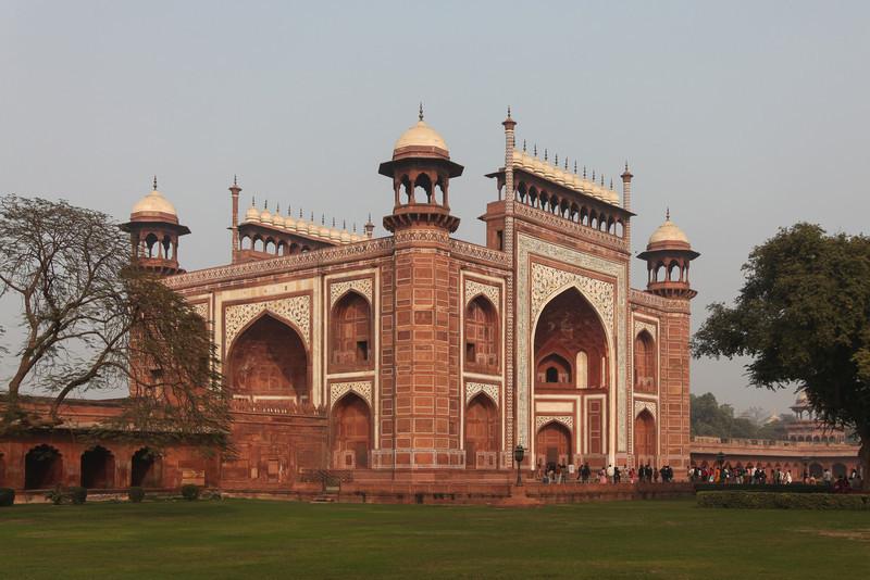 The entrance to the Taj Mahal.
