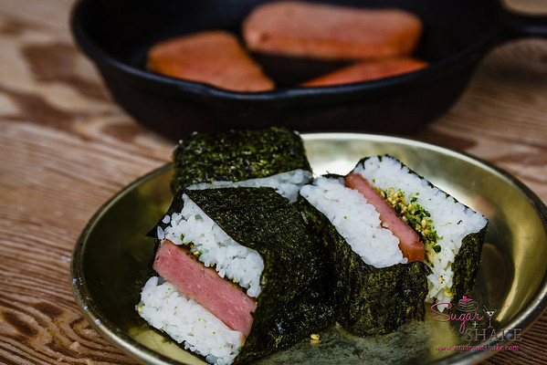 "SPAM® Musubi. ""Now"" Pairing: Smoked Pork Belly Banh Mi Sandwich. © 2014 Sugar + Shake"