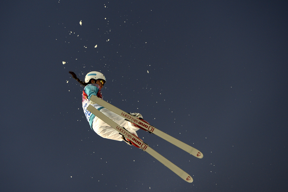 . Kazakhstan\'s Zhibek Arapbayeva competes in the Women\'s Freestyle Skiing Aerials Qualifications at the Rosa Khutor Extreme Park during the Sochi Winter Olympics on February 14, 2014.  (FRANCK FIFE/AFP/Getty Images)