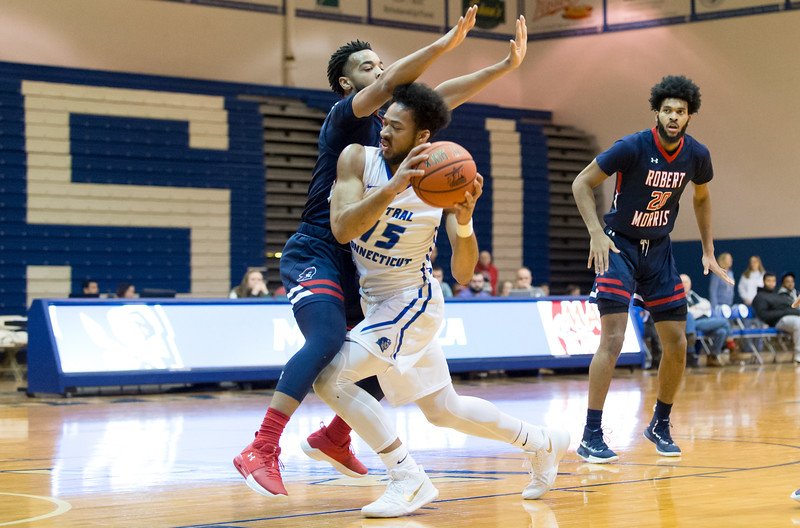 01/21/19  Wesley Bunnell | Staff  CCSU's mens basketball was defeated 70-59 by Robert Morris at home on Monday afternoon. Jamir Coleman (15).