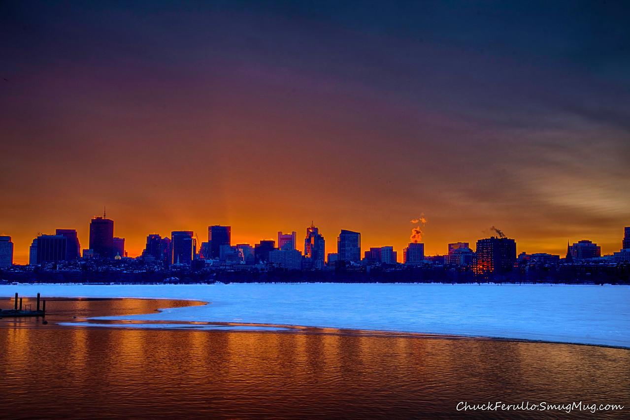 Sunrise, Boston skyline